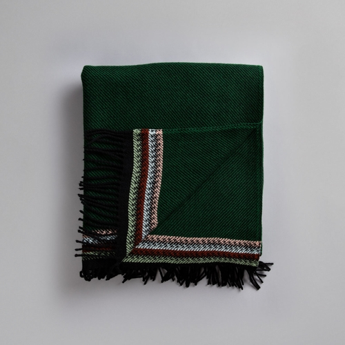 "Roros Tweed Akle Wool Blanket with Fringes, Dark Green - 59"" x 83"""