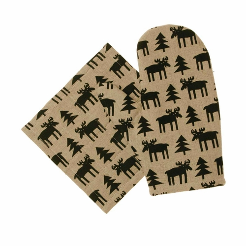 Alg (Moose) Oven Glove & Pot Holder Set