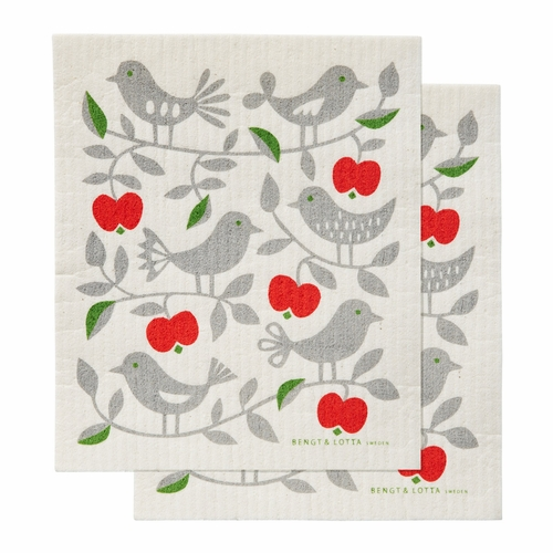 Apple & Bird Dishcloth, Set of 2