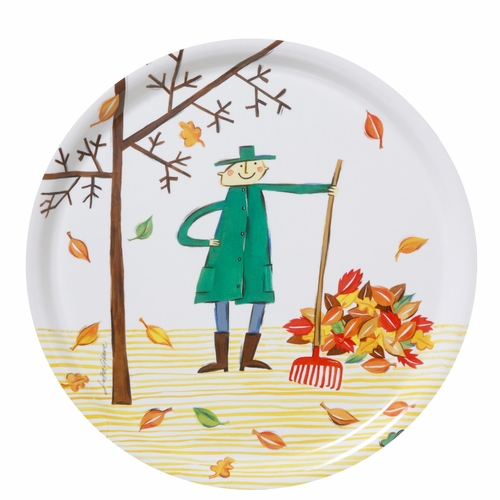 Autumn Leaf Round Tray