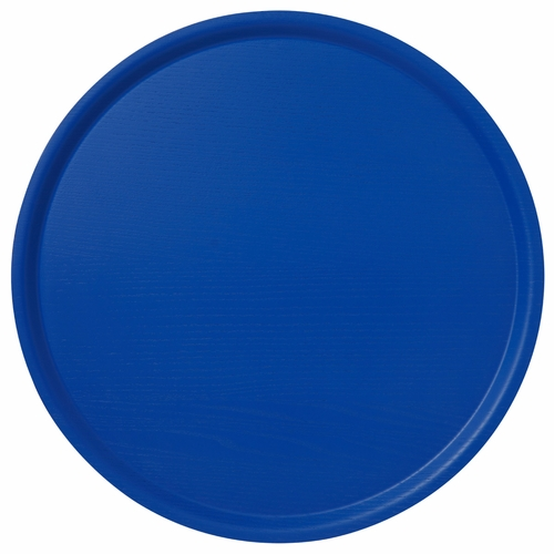 B&L Wood Large Round Tray, Brilliant Blue