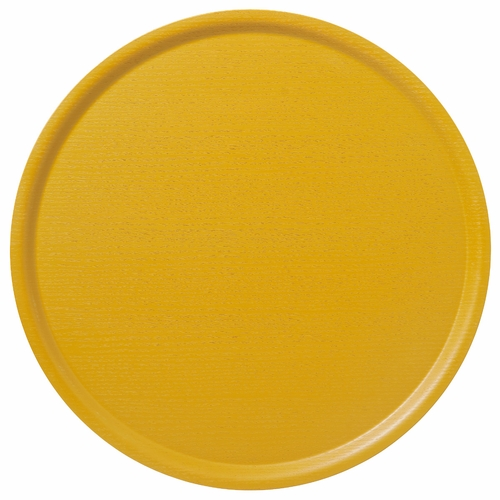 Bengt & Lotta B&L Wood Large Round Tray, Summer Yellow - 17.7""