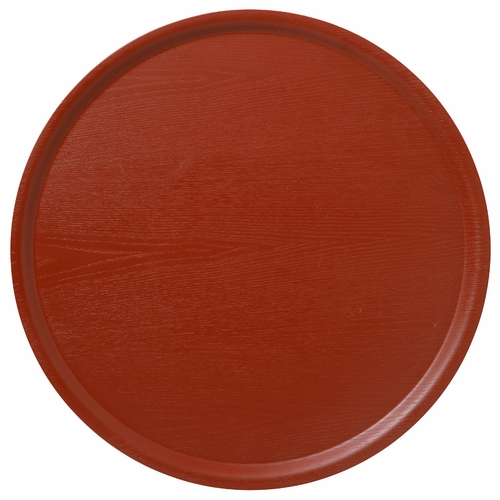Bengt & Lotta B&L Wood Large Round Tray, Swedish Red - 17.7""