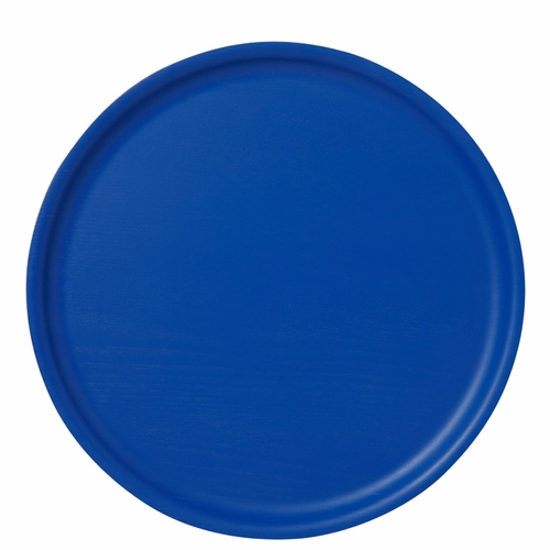 B&L Wood Round Tray, Brilliant Blue