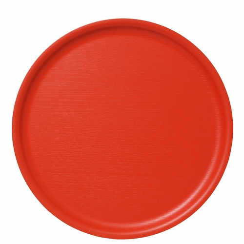 Bengt & Lotta B&L Wood Round Tray, Coral - 13.78""