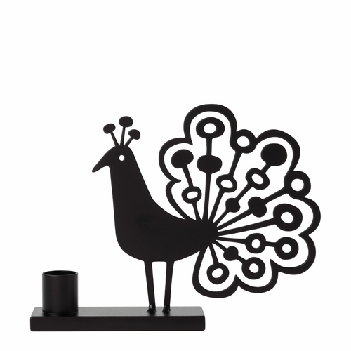 Bengt & Lotta Iron Peacock Candle Holder, Black