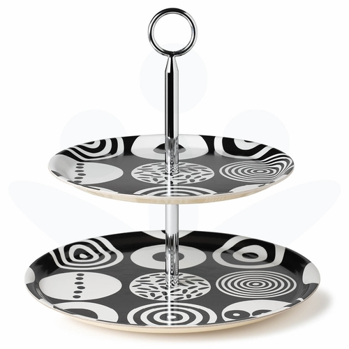 "Bengt & Lotta Candy, Black Two-Level Tray - 12.6"" Diameter"