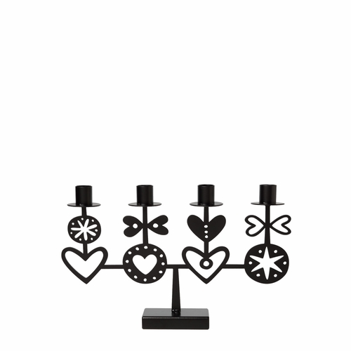 Bengt & Lotta Four Hearts Candelabra  - Black Laser Cut Steel