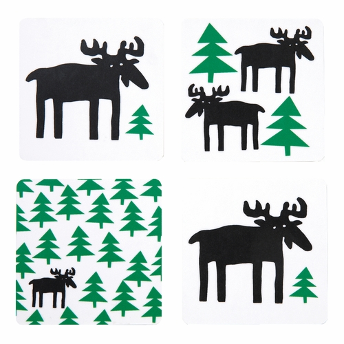 Bengt & Lotta Moose in the Forest Coaster Set of 4