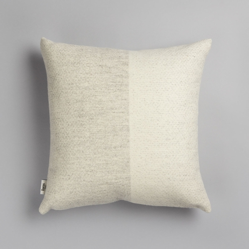 "Roros Tweed Berg Wool Cushion, White / Natural - 20"" x 20"""