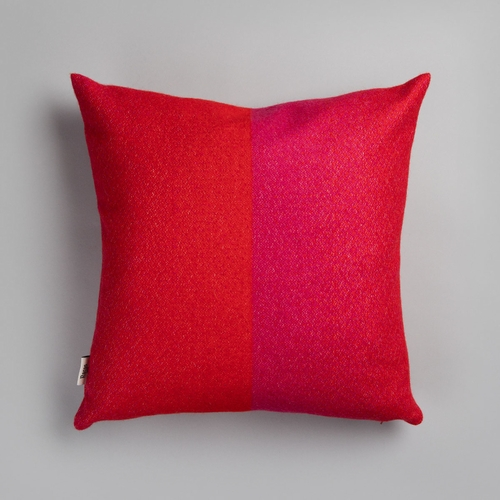 "Roros Tweed Berg Wool Cushion, Red/Pink - 20"" x 20"""