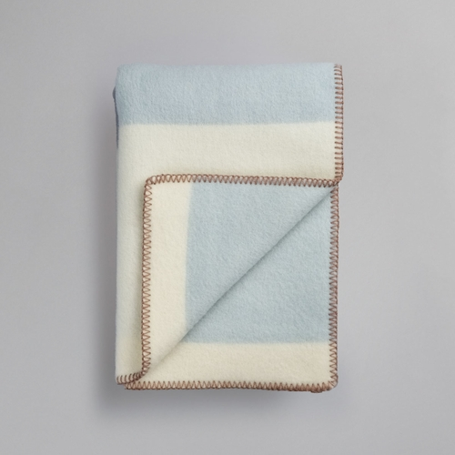"Roros Tweed Bergstaden Wool Blanket, Beige/Blue - 53"" x 79"""