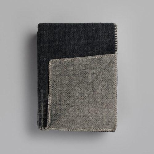 "Roros Tweed Bernadette Wool Blanket, Dark Grey/Light Grey - 53"" x 79"""