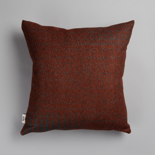 "Roros Tweed Bernadette Wool Cushion, Rust/Turquoise - 20"" x 20"""