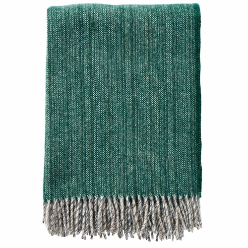 Bjork Brushed ECO Lambs Wool Throw, Forest Green