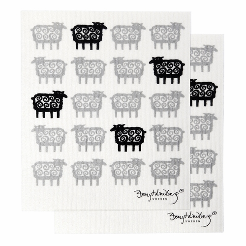 Klippan Black Far (Sheep) Dishcloth, Set of 2