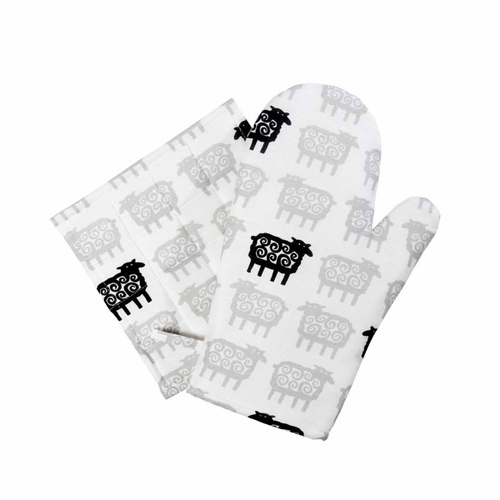 Black Far (Sheep) Oven Glove & Pot Holder Set