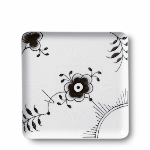 Black Fluted Mega Large Square Plate, 8""