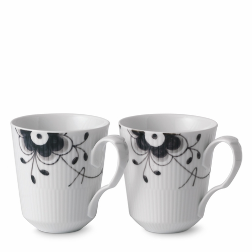 Royal Copenhagen Black Fluted Mega Mug Set of 2, 12.25 oz