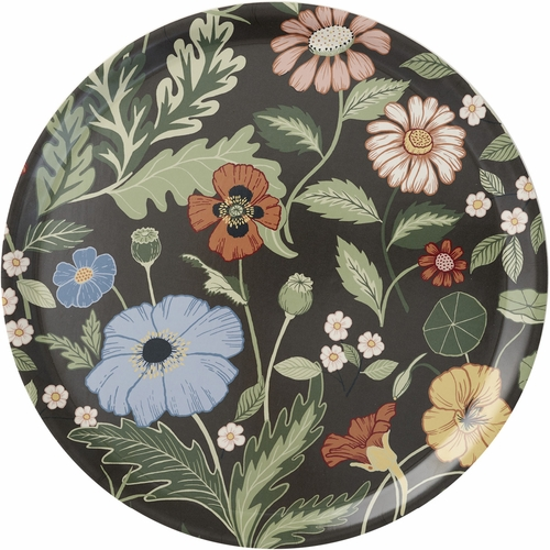 Klippan Bloom Large Round Tray, Asphalt - 19.3""