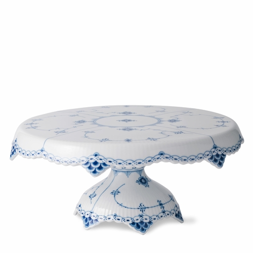 Royal Copenhagen Blue Fluted Half Lace Cake Stand, 12""