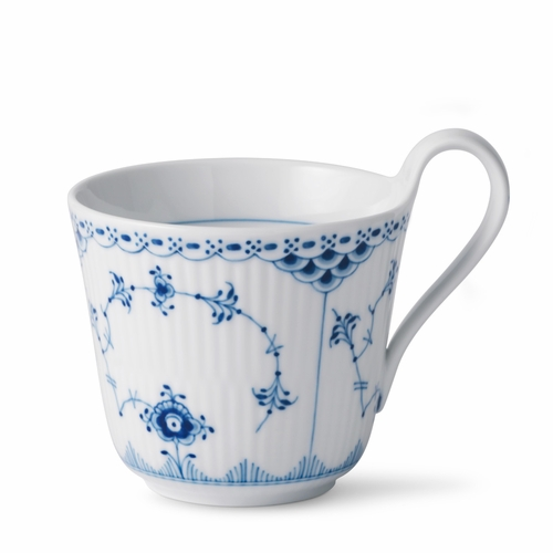 Blue Fluted Half Lace High Handled Mug