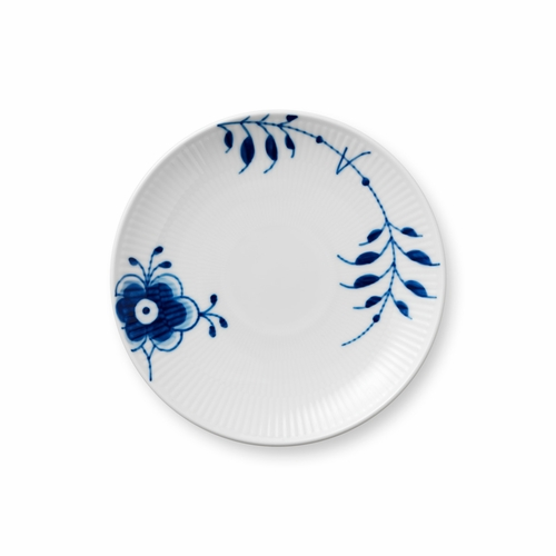 Blue Fluted Mega Dessert Plate Coupe, 7.5""