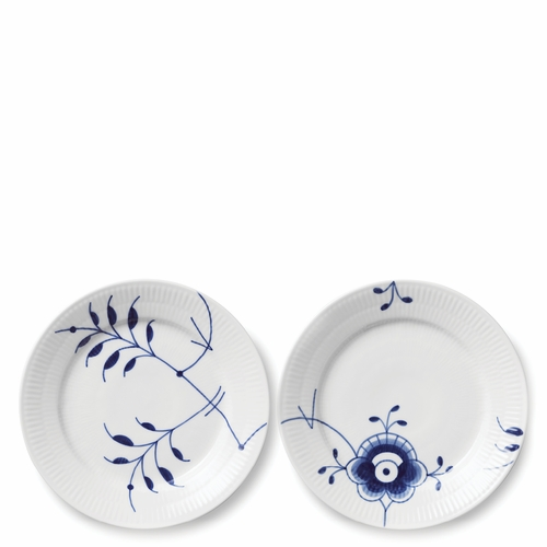 "Royal Copenhagen Blue Fluted Mega Dessert Plate Set of 2, 7.5"" - Pattern #4 & #7"