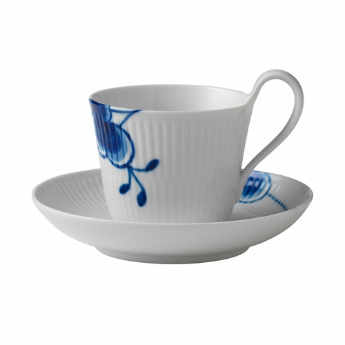 Blue Fluted Mega High Handled Cup & Saucer #2