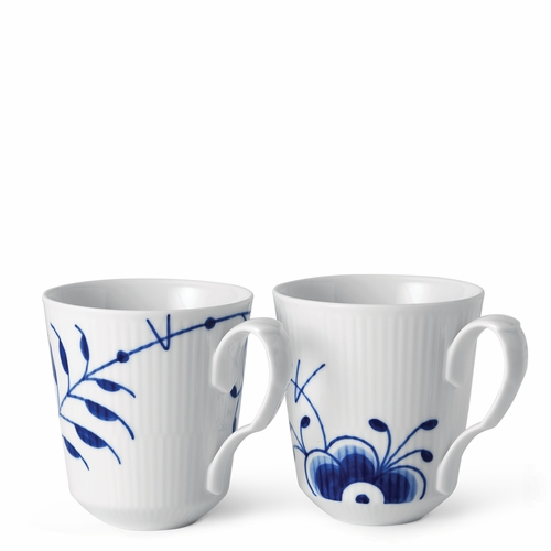 Blue Fluted Mega Mug Set of 2, 12.25 Oz - Anniversary Decor