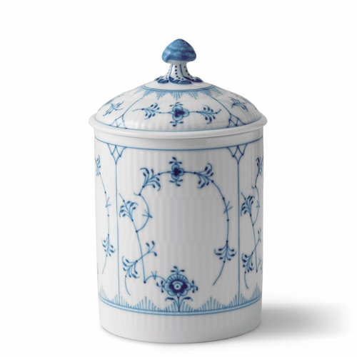 Royal Copenhagen Blue Fluted Plain Jar With Lid, 6.25""