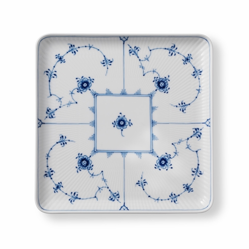 Royal Copenhagen Blue Fluted Plain Large Square Plate, 8""