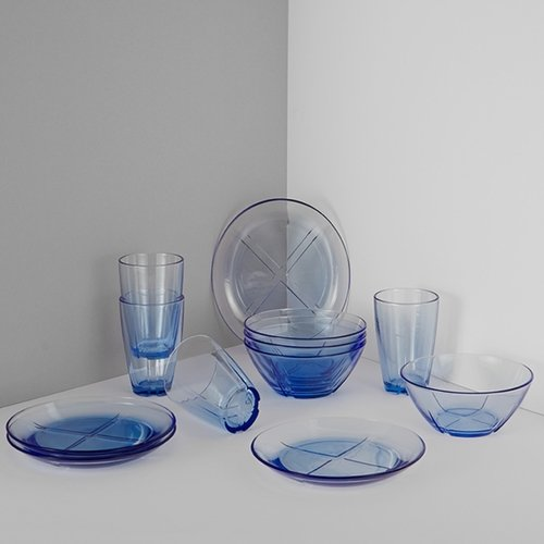 Kosta Boda Bruk 12-Piece Brunch Set - Water Blue