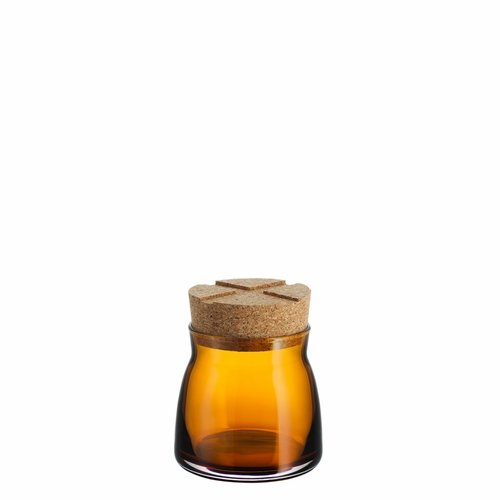 Bruk Jar with Cork Lid, Small - Amber