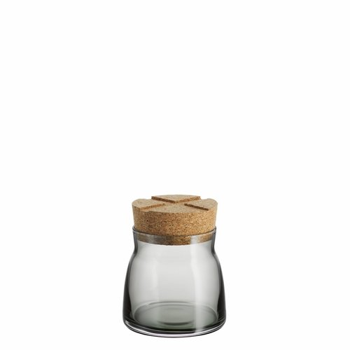 Bruk Jar with Cork Lid, Small - Smoke Grey