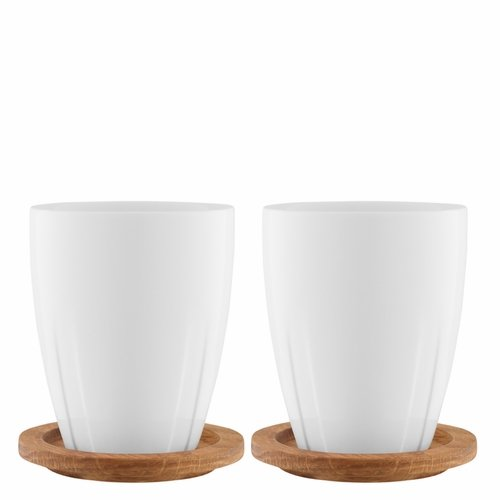 Kosta Boda Bruk Mug with Oak Lid/Coaster, Set of 2 - White