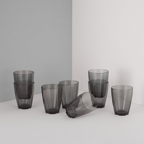 Kosta Boda Bruk Tumbler Set of 8 - Smoke Grey