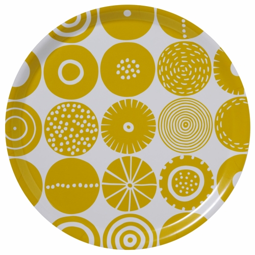 Bengt & Lotta Candy Large Round Tray, Yellow - 15""