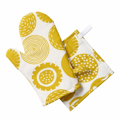 Candy Oven Glove & Potholder Set, Yellow