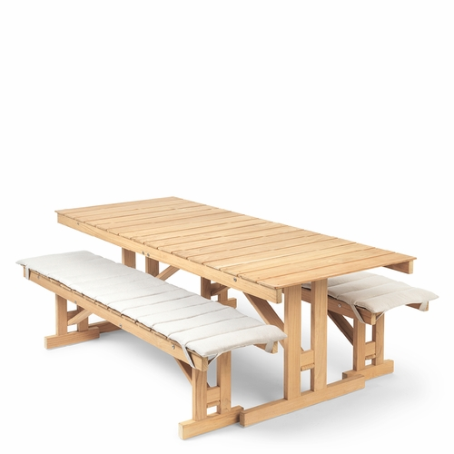 Carl Hansen & Son BM Outdoor Table & Benches with Cushions Set, Teak Untreated