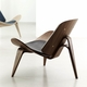 Carl Hansen & Son CH07 Shell Chair, Walnut Oil, Loke 7150 Leather
