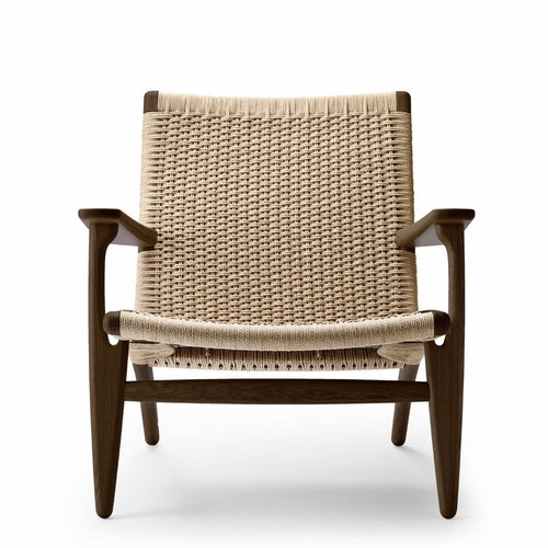 Carl Hansen & Son CH25 Easy Chair, Smoked Oak Oil, Natural Paper Cord Seat