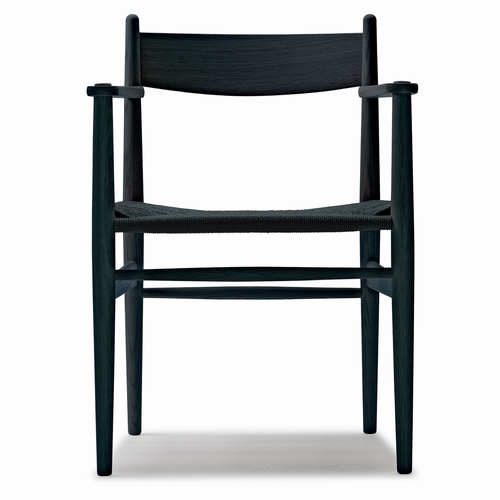 Carl Hansen & Son CH37 Dining Chair, Black Stained Oak, Black Paper Cord Seat