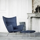Carl Hansen & Son CH445 Wing Chair & Matching CH466 Footstool Set, Divina Melange 2 120 Fabric