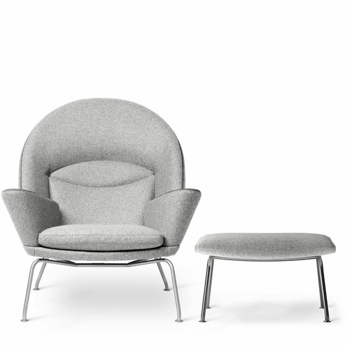 Carl Hansen & Son CH468 Oculus Chair & Matching CH466 Footstool Set, Divina Melange 2 120 Fabric