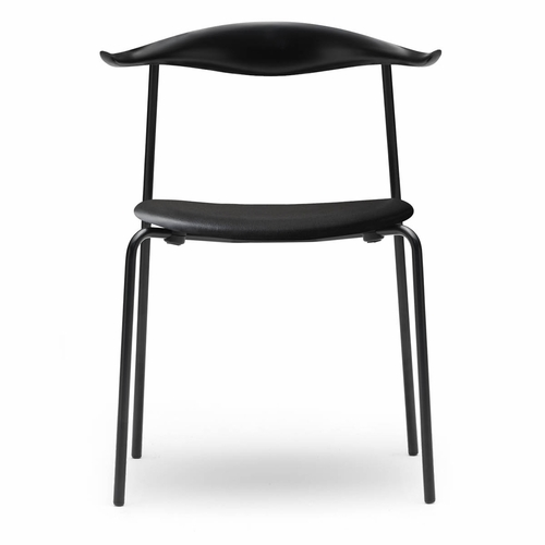 Carl Hansen & Son CH88P Dining Chair, Oak Black Back, Black Steel Frame, Loke 7150 Leather Seat