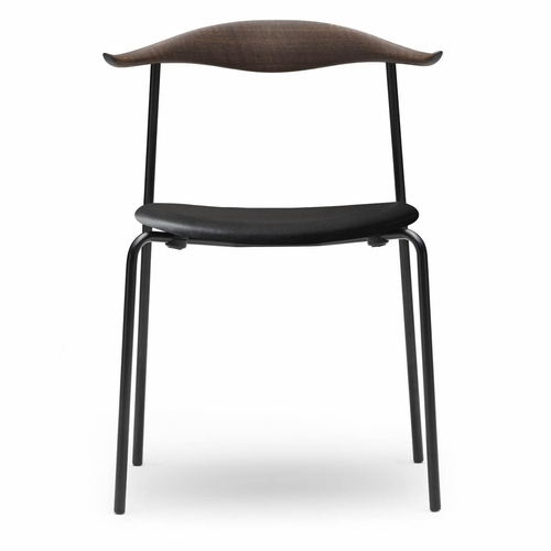 Carl Hansen & Son CH88P Dining Chair, Oak Smoke Stained Back, Black Steel Frame, Loke 7150 Leather Seat