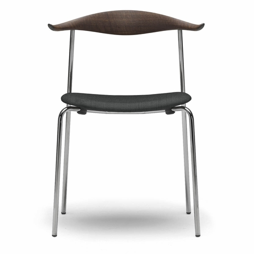 Carl Hansen & Son CH88P Dining Chair, Oak Smoke Stained Back, Black Steel Frame, Remix 123 Fabric Seat