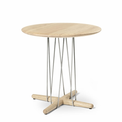 Carl Hansen & Son E021 Embrace Lounge Table, Oak White Oil, Stainless Steel - Diameter 18.9""