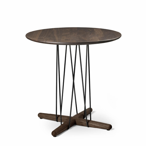Carl Hansen & Son E021 Embrace Lounge Table, Walnut Lacquer, Black Powder-Coated Steel - Diameter 18.9""